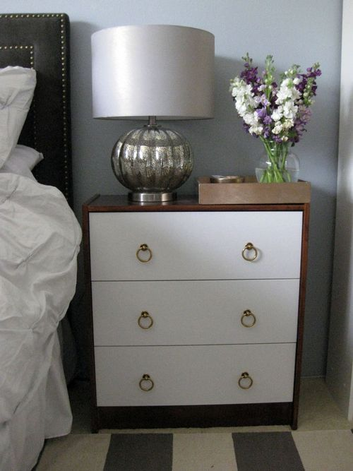 Ikea RAST chest of drawers stained/painted and used as a nightstand
