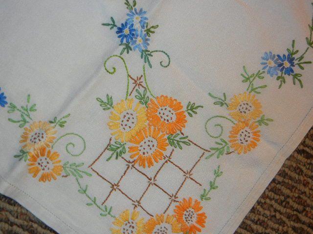 Vintage Linen Embroidered Cottage Tablecloth.