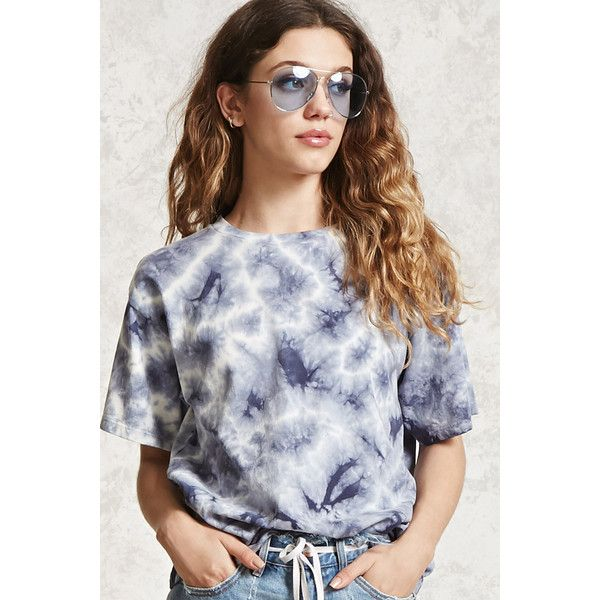 Forever21 Tie-Dye Washed Tee (91 DKK) ❤ liked on Polyvore featuring tops, t-shirts, navy, forever 21 t shirts, navy blue tee, navy blue crew neck t shirts, tye dye t shirts and navy blue t shirt