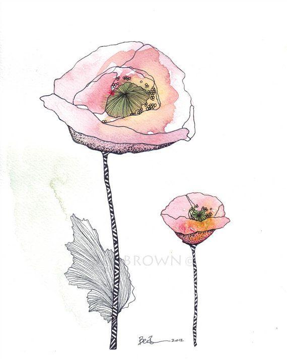 Pink Poppy Flower Watercolour Zentangle Art by CloudsofColourShop, $25.00