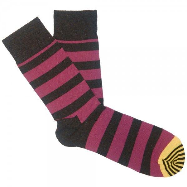 Happy Socks - Stripe Sock black purple yellow