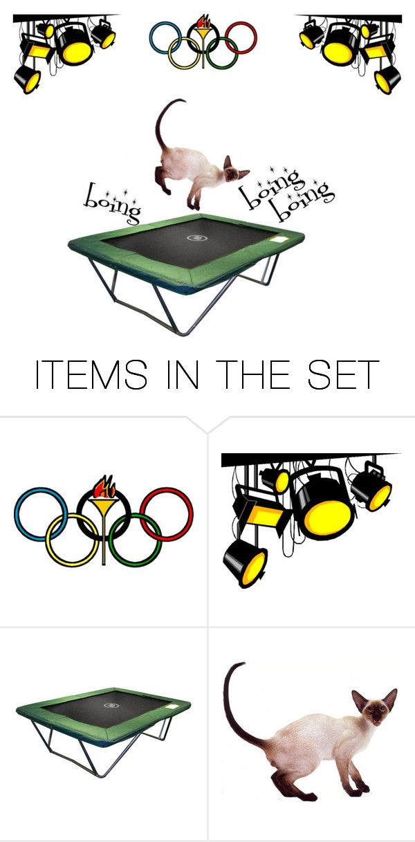 """""""Cat olympics 8 - Trampoline"""" by rainbowjen ❤ liked on Polyvore featuring art"""