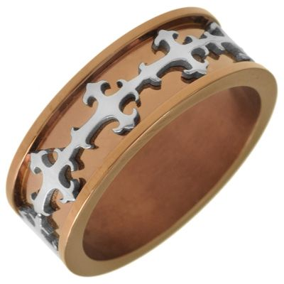 Men's 8.0mm Gothic Band in Two-Tone Stainless Steel - Zales. $49