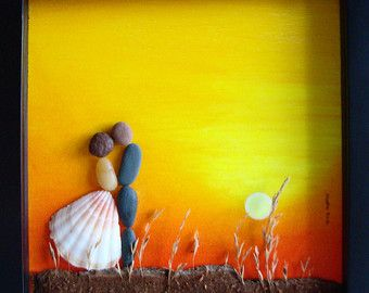 Bruiloft cadeau Pebble Art-unieke betrokkenheid door MedhaRode