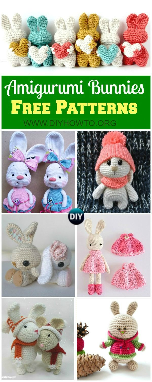 Crochet Easter Bunnies, Amigurumi Bunny Toys, Stuffed Bunny Animal crochet free pattern via @diyhowto
