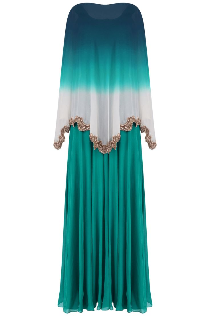 Teal green straight gown and beads embroidered cape set available only at Pernia's Pop Up Shop.