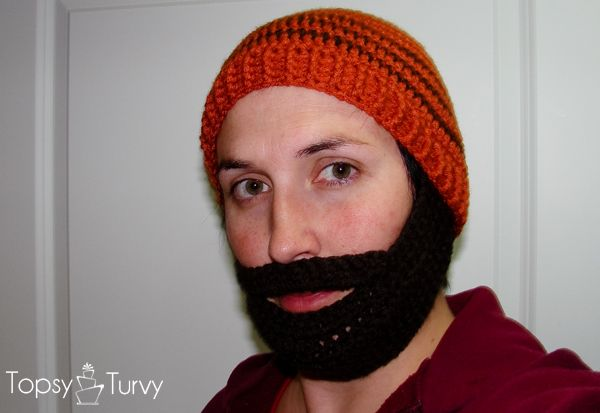 Here's the pattern for doing a bearded beanie...for all those crocheters...I'll have to learn sometime soon...