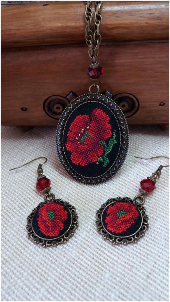 Embroidered pendant and earrings Poppies