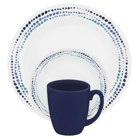 #Corelle Livingware™ Ocean Blues 16-Pc Dinnerware Set - Energetic droplets of bright blue dance along the edges of a simple coupe plate. This contemporary, yet lively pattern lends a youthful and cheery approach to any table setting. // click to buy