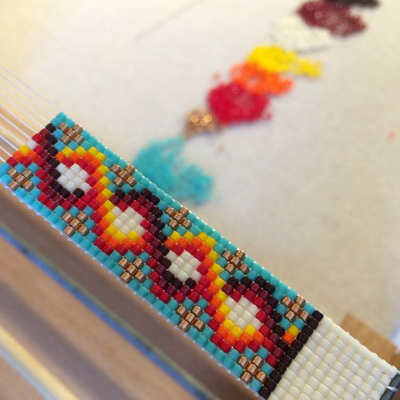 This Carlsbad Bead Loom cuff bracelet was inspired by the beautiful Native American patterns I see around me here in Albuquerque, New Mexico. As with