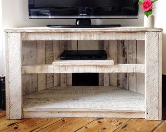 Soporte de mesa Tv rincón rústico hecho a por RemyDicksonDesigns