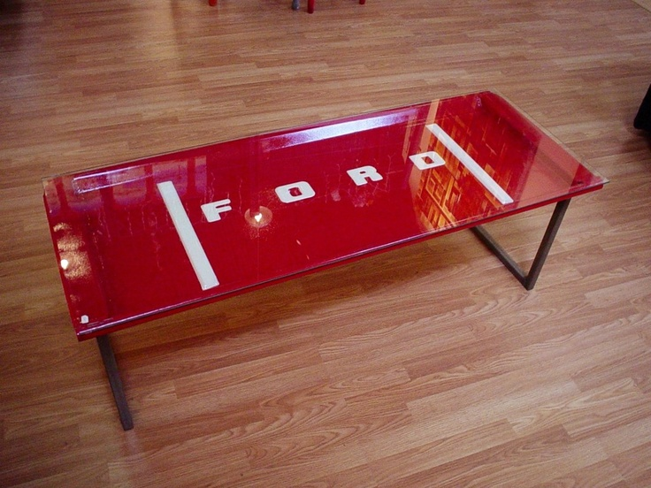 tail gate coffee table with glass top