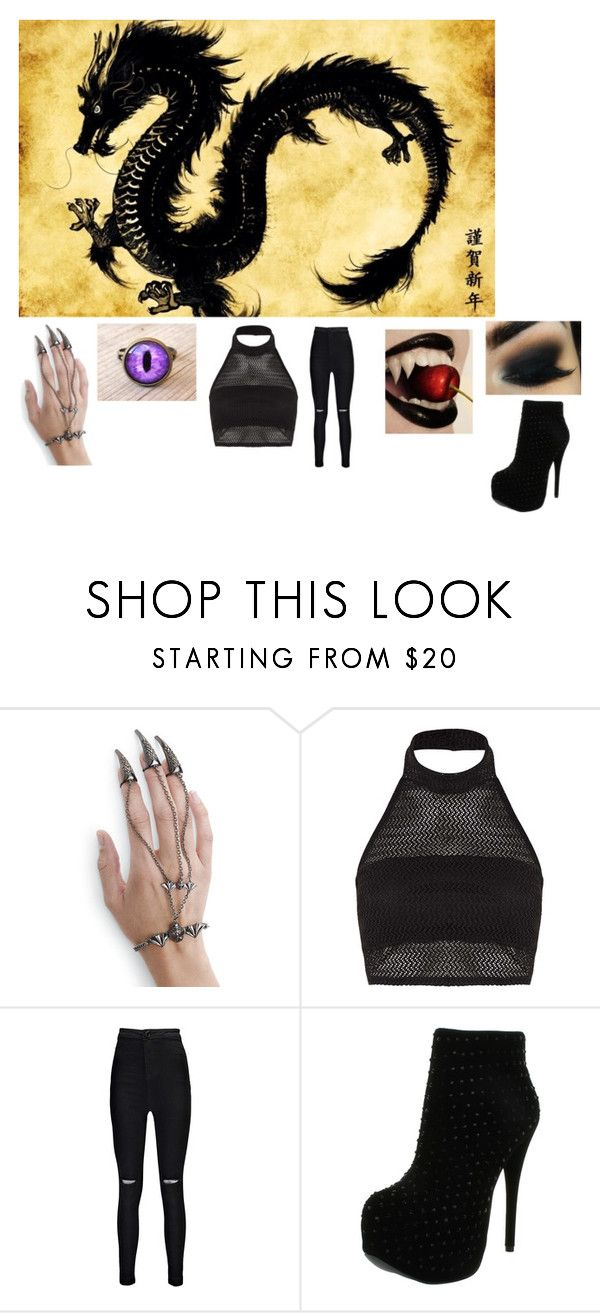"""Black Dragon"" by scorpio-queen ❤ liked on Polyvore featuring Boohoo and Luichiny"