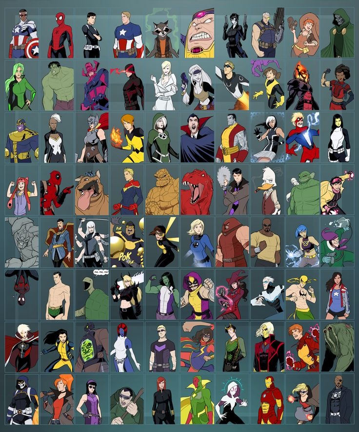 "supernormalstep: "" FINALLY! I finished drawing 80 Marvel characters. (Click here for a bigger version) In order Right to Left: -Row 1: Captain America (Sam Wilson), Spider-Man (Peter Parker), Maria Hill, Captain America (Steve Rogers), Rocket Racoon,..."
