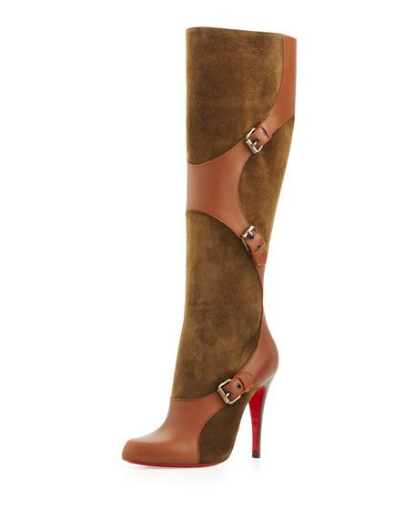 Canassone Suede Leather Harness Boot, Olive