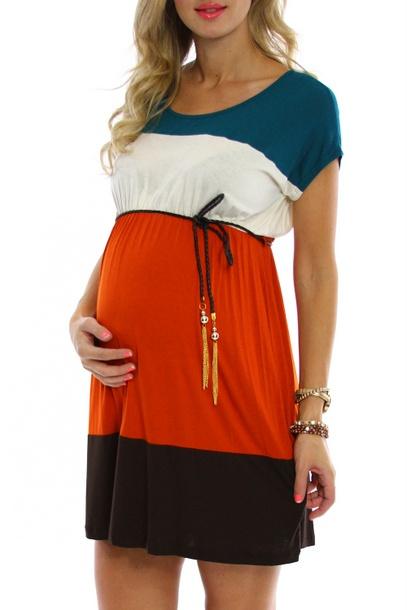 Block Maternity Day Dress