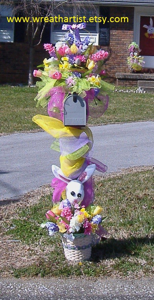 Pinterest Wreaths | At the base of the pole I added another basket of flowers and a Easter ...