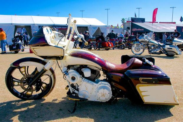 Azzkikr Custom Cycles' radical Road Glide wins the 2012 Baddest Bagger in Sturgis title at the Full Throttle Saloon