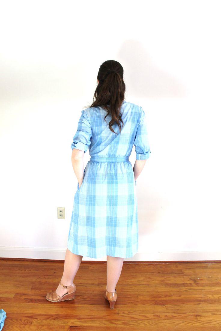 ON SALE Vintage Plaid Dress / 1970s Blue Plaid Shirt by Coldfish