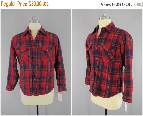 Vintage 1970s Wool Shirt / 70s Men's Plaid Shirt / Vintage Menswear / Ricco / Red and Blue Tartan by FyveByFyve on Etsy https://www.etsy.com/listing/490524738/vintage-1970s-wool-shirt-70s-mens-plaid