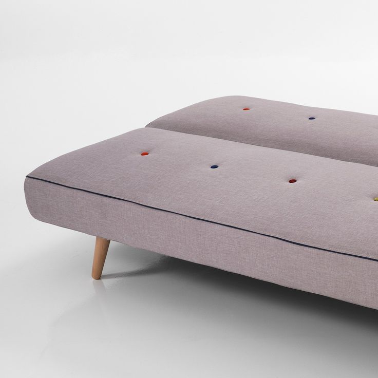 Divano letto Kuniko a due posti in tessuto grigio 180 cm