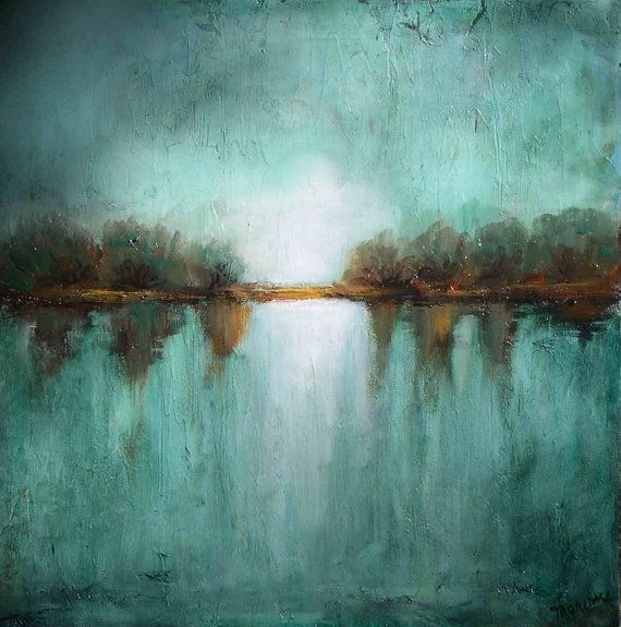 Large painting on canvas oversized art landscape minimalism teal textured