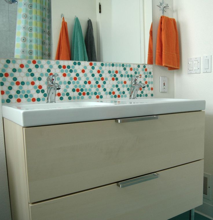 bathroom vanity backsplash with penny tiles home decorating trends homedit