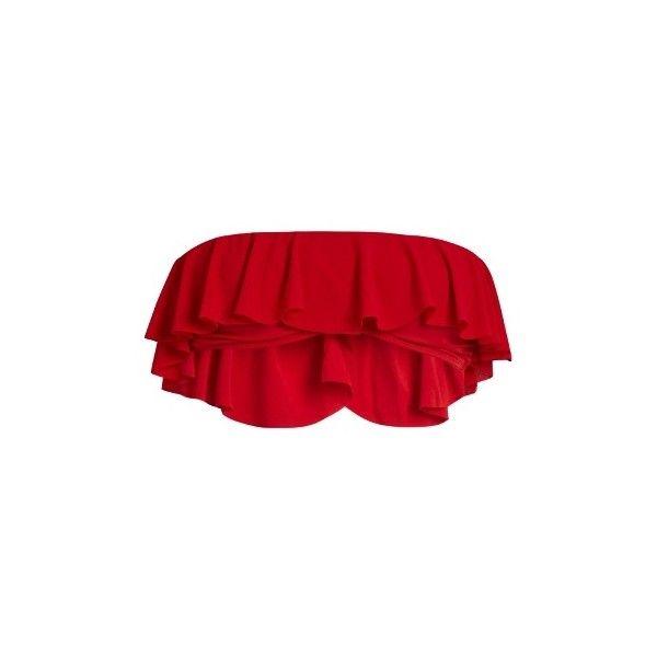 Norma Kamali Ruffled bikini top (13,110 INR) ❤ liked on Polyvore featuring swimwear, bikinis, bikini tops, flounce bandeau bikini top, flounce bandeau bikini, red bandeau bikini, flounce bikini top and bandeau bikini tops