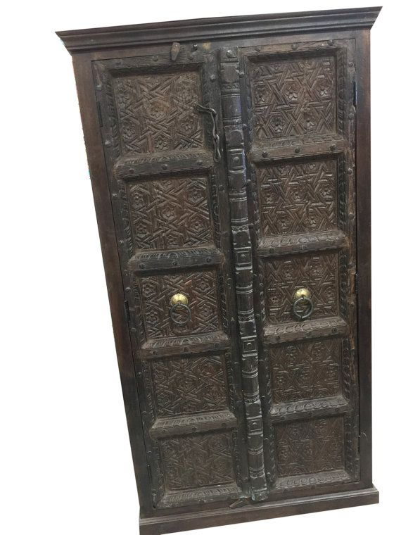 Antique Carved Doors Wardrobe Rustic Teak Vintage ARMOIRE Moroccan Spanish Mediterranean Southern CITY CHIC