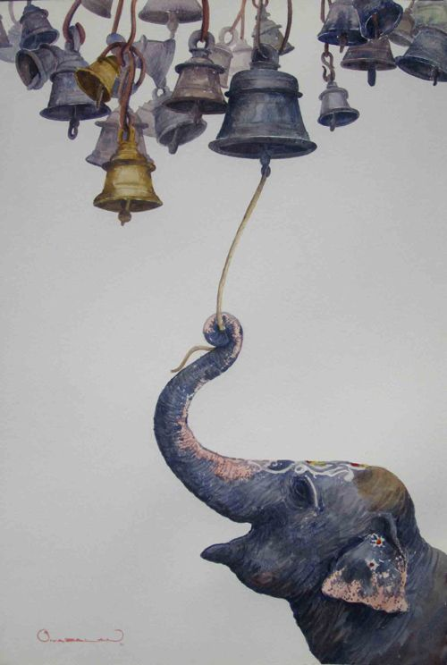 Elephant and temple bells.                                                                                                                                                                                 More
