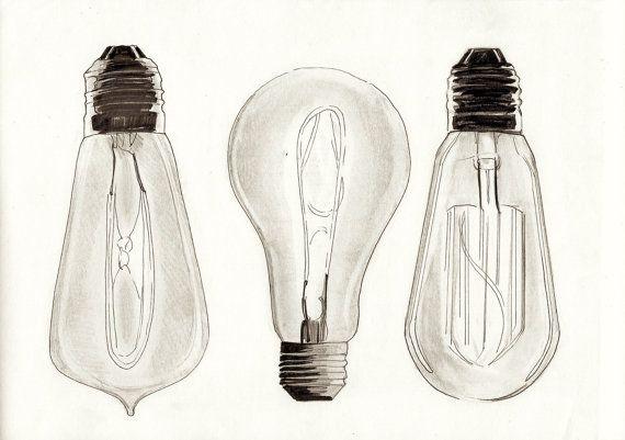 Vintage Edison Filament Bulb Lightbulb Pencil Illustration ...