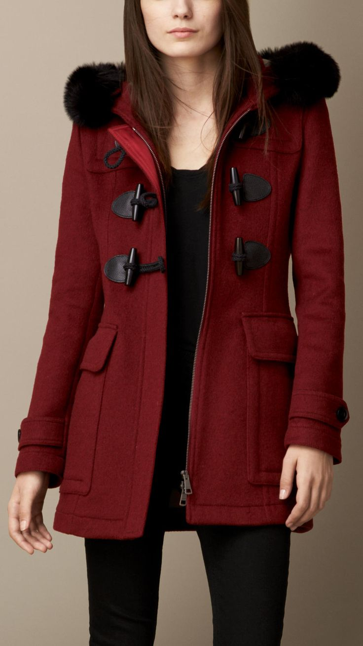 Fur Trim Fitted Duffle Coat with Detachable Hood | Burberry