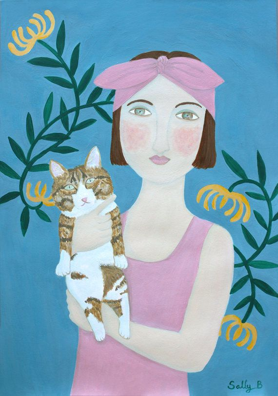 Naive Art Portrait Flapper Girl Pink Blue Cat Retro poster Floral Acrylic painting illustration