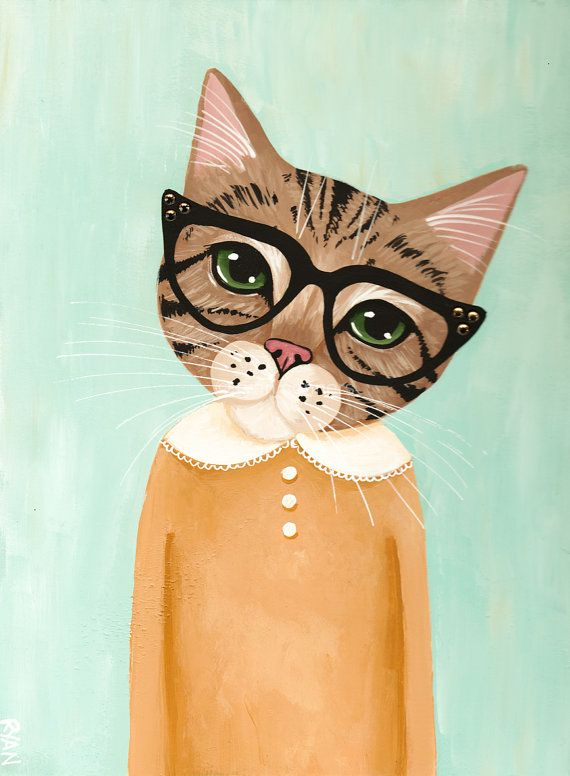 Awesome Etsy listing at https://www.etsy.com/pt/listing/244076358/brown-tabby-in-glasses-original-cat-folk