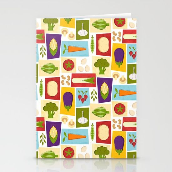 Set of folded stationery cards printed on bright white, smooth card stock to bring your personal artistic style to everyday correspondence.  Each card is blank on the inside and includes a soft white, European fold envelope for mailing. #kitchendecor #vegetables #society6 #miavaldez #chef #food #stationery #card
