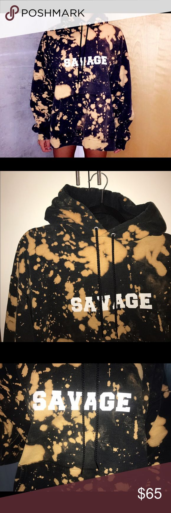 Savage Bleached Sweatshirt Black bleached sweatshirt. Size large. (made by me, tagged brand for style) Yeezy Tops Sweatshirts & Hoodies