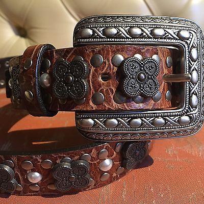 Cintura Nanni® In Vero Cuoio. Fibbia E Fregi In Metallo Brunito E Perle. M. 80 | eBay