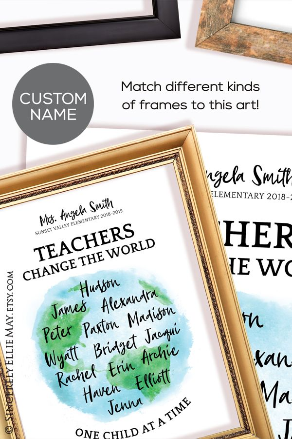 Teacher Gifts Custom Names Teachers Change The World