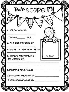 This activity is for those teahers who teach Spanish class o Spanish immersion Programs. It could be used the very first class in order to get to know your students. Work with them orally, then write and then tell them to color. Esta actividad es para aquellos profesores que enseñan clases de español o programas de inmersión en español.