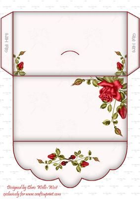 Romance Money Wallet on Craftsuprint designed by Chris Wells-West - Elegant money wallet to co-ordinate with my Romance Double Pop Out Card. Useful for all occasions.  - Now available for download!
