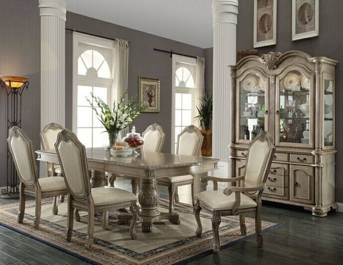 ACME Chateau De Ville Antique White 7 Pc Pedestal Dining Table Set