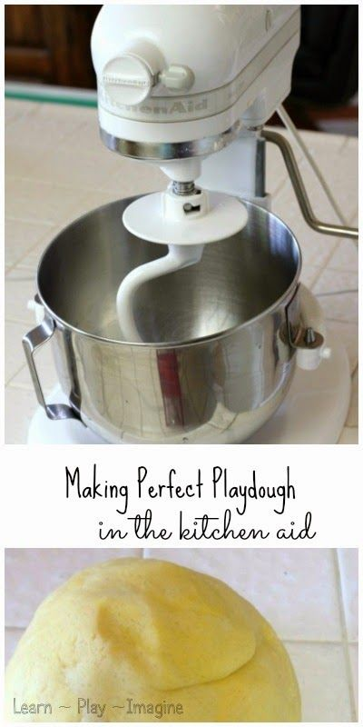 Totally tried this out and it works! The best part? I don't have to get super dry hands from kneading salty dough. Next time you need to whip up a large batch of playdough--use your mixer!