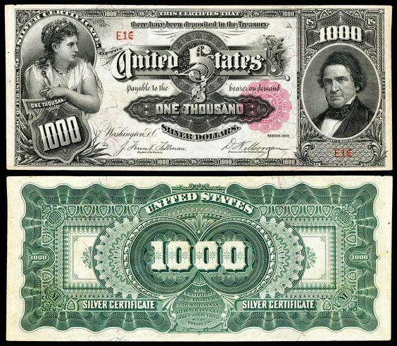 $1000 Dollar Bill Series 1891
