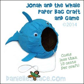 Jonah and The Whale Paper Bag Craft and Game from www.daniellesplace.com - copyright 2014