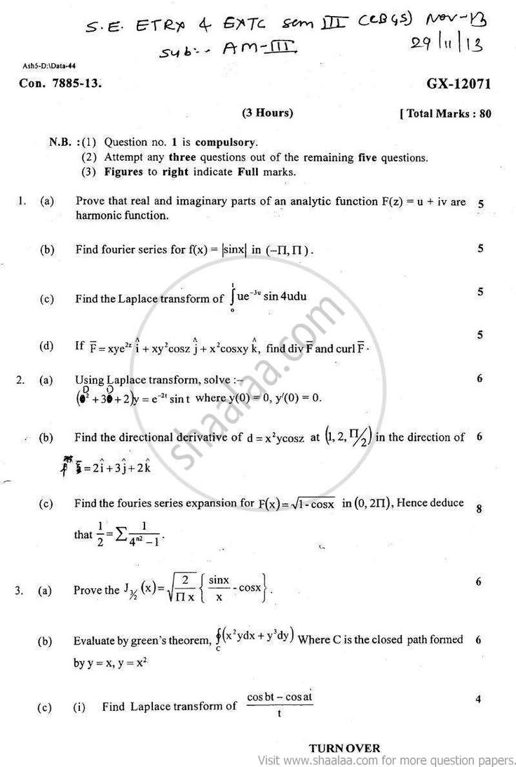 10 best mumbai university engineering question papers images on 3 2013 december engineering electronics and telecommunication be bachelor of engineering semester 3 university exam university of mumbai malvernweather Images