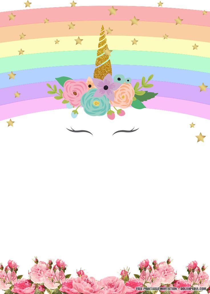 Free Printable Unicorn Rainbow Invitation Template Free Printable