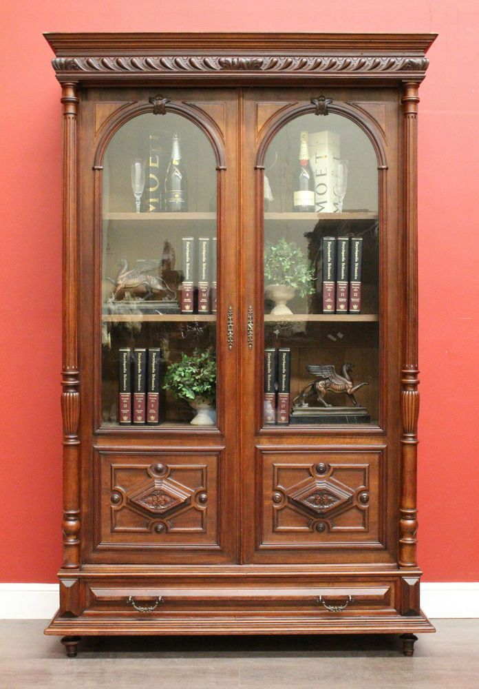Antique French Walnut 2 Door Drawer Bookcase China Cabinet