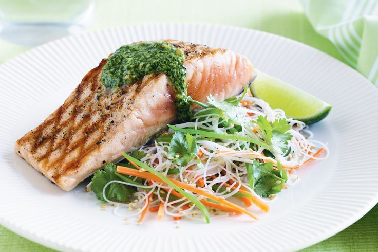 This colourful salmon and noodle salad is a quick and tasty supper solution.