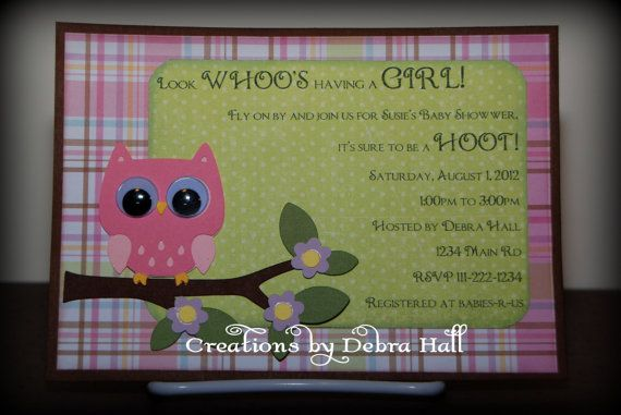 Handmade Owl Baby Shower Invitation by CreationsByDebraHall, $2.00