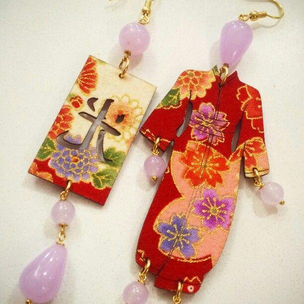 Orecchini kimono con antiche stoffe kimono giapponesi   www.gioielleriagozzoli.com  Schop online